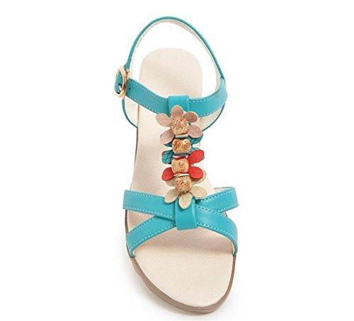 39 Blue 34 Sandalias Bohemias 41 Mujer ligeras Xie De Compras Beige cómodas 2cm 41 Elegantes Diarias Cuentas sandalias con AnqnTUS