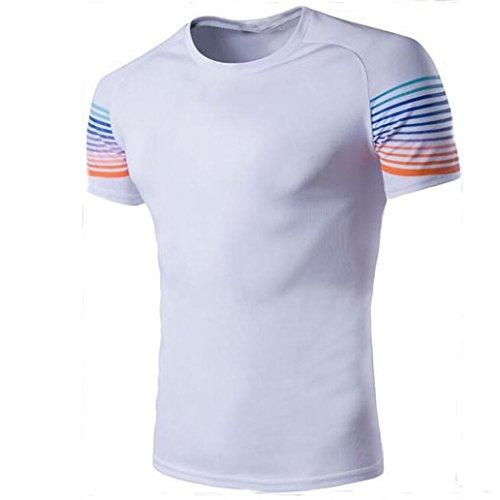 Rcool Mens Casual Baumwoll T-shirts T-Shirt Kurzarm Rundhals Tops (L, Weiß)