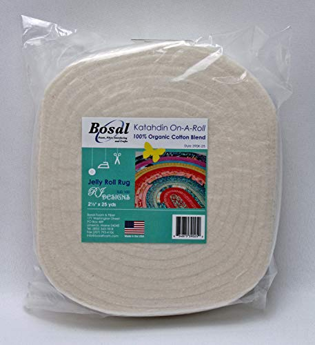 "Batting - Bosal Katahdin On-A-Roll 2.5"" Wide Pre-Cut Lightweight Jelly Roll Rug Batting 100% Organic Cotton Blend - Sold by The 25 Yard Roll M224.05"