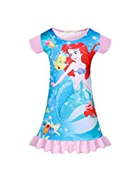 WOW Girls Mermaid Princess Nightgown Summer Pajamas Dress Casual Toddler Sleepwear Nightie Shirts Flutter Sleeve