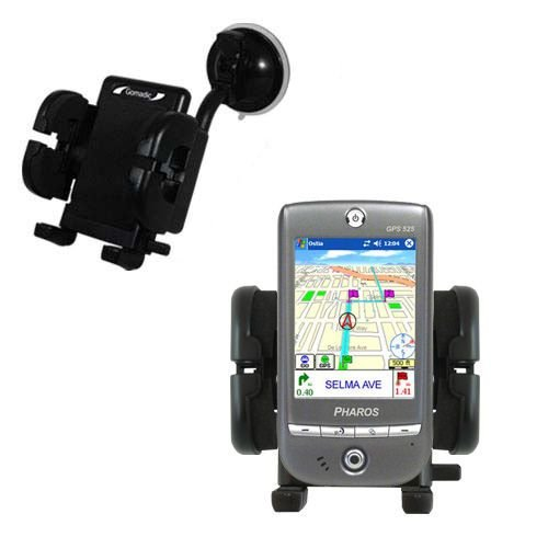 Windshield Vehicle Mount Cradle suitable for the Pharos GPS 525 - Flexible Gooseneck Holder with Suction Cup for Car / Auto.