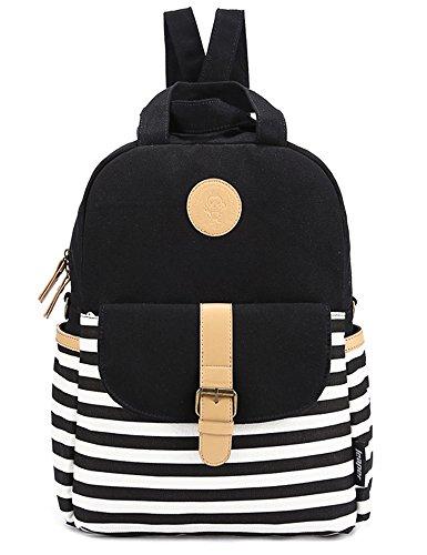Leaper Canvas Laptop Bag Shoulder Daypack School Backpack (Black)