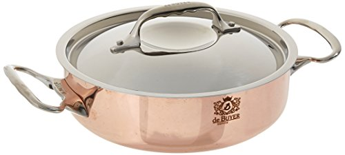 PRIMA MATERA Round Copper Stainless Steel Saute-Pan 8-Inch with lid by De Buyer