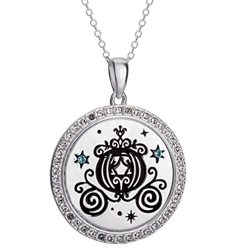 Disney, Cinderella Pumpkin Carriage Silhouette Sterling Silver Crystal Pendant Necklace, ()