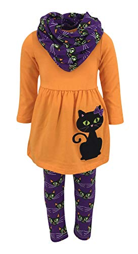Unique Baby Girls Black Cat Halloween Outfit with Infinity Scarf (3T/S, Purple)