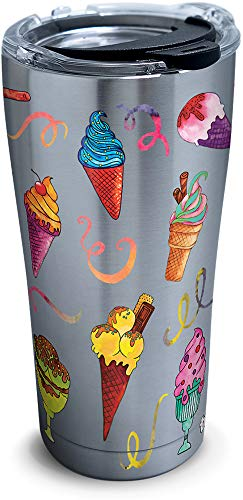 Tervis 1290258 Ice Cream Cones Insulated Tumbler with Clear and Black Hammer Lid, 20 oz Stainless Steel, Silver