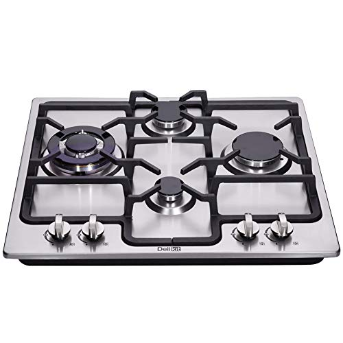 Deli-Kit DK245-B04 24 inch gas cooktop gas hob stovetop 4 burners LPG/NG Dual Fuel 4 Sealed Burners brass burner Stainless Steel Built-In gas hob 110V AC pulse ignition gas cooktop gas stove