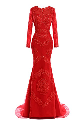 Women s Beaded Evening Gowns Sleeve Formal Lace Long Lilac Dora amp Acute with Bridal Appliques Mermaid Dress pUvI1q5