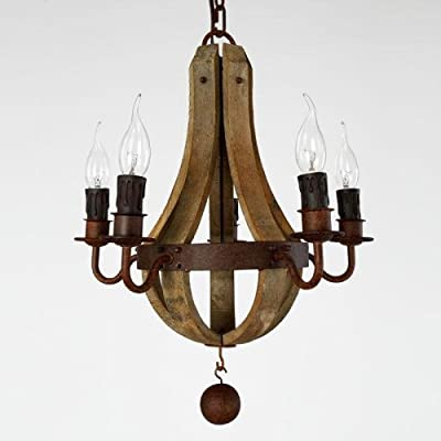 "Y&L® French Country Wood Metal Wine Barrel Chandelier Pendant 5 Lights Rh 19"" W 18"" L 18"""