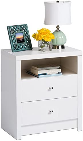 Pure White Nolita Tall 2-Drawer Nightstand