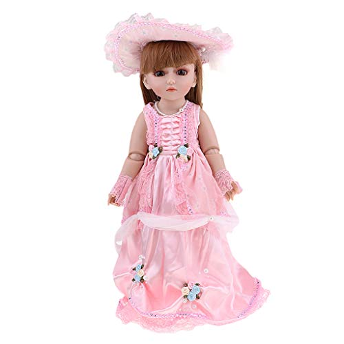 (CUTICATE 18inch Fashion Girl Doll with Victorian Style Outfits - Brown Hair,Brown Eyes,12 Joints Body - Free to Dress up, Kids Pretend Play Toy)