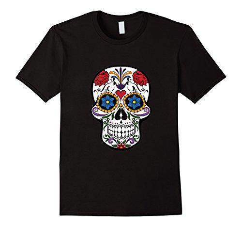 Mens Sugar Skull Costume Halloween Day of The Dead Calavera Shirt Medium (Sugar Skull Costume For Men)