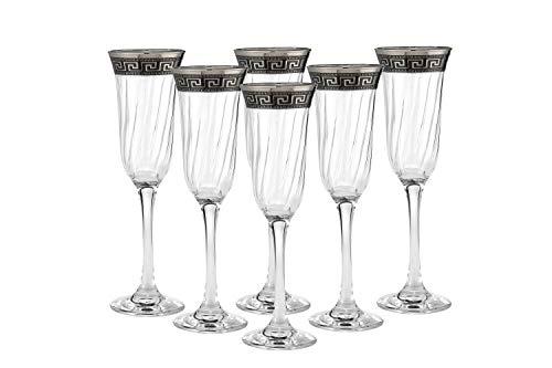 'Cristalleria Italian Decor' Crystal Champagne Flute, 7 oz. Silver Platinum Greek Key Ornament, Hand Made in Italy, SET OF 6 Glasses