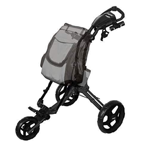 Rovic RV1D 3-Wheel Disc Golf Push Cart | Fits All Disc Golf Backpacks (Charcoal/Black)