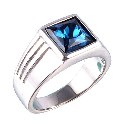 ss Steel Square Blue Gemstone Ring (Silver) Size 9 (Blue Gemstone Ring)