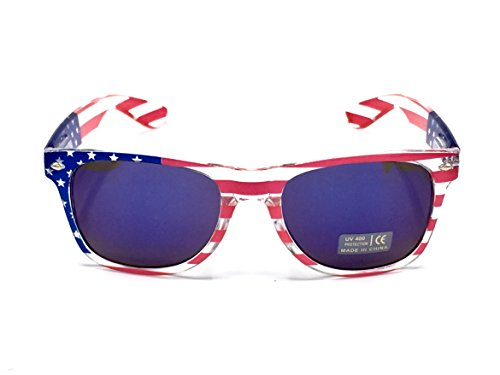 Goson American Flag Mirror Novelty Decorative Sunglasses (Blue - Sunglasses With American Lenses Flag