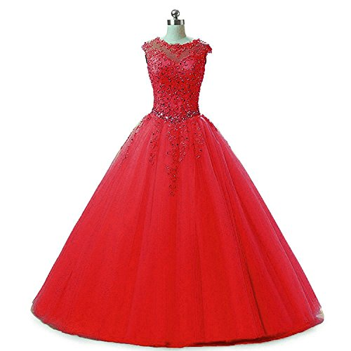 (MyLilac Women's Cap Sleeve Quinceanera Dresses Long Beading Appliques Prom Party Ball Gown Long Red)