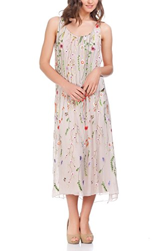 Laura Moretti Silk Long Dress with Coloured Embroidered Floral Details