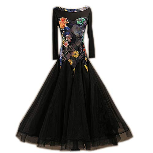 garuda 社交ダンスドレス モダンダンスウェア サイズオーダードレス 練習ワンピース 花柄 B07JLJHT57 ブラック,XXL