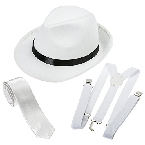 NJ Novelty Gangster Costume Hat Suspenders and Tie Set (White Hat, White Suspenders & White Tie)One Size ()