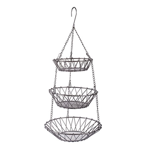 Home Traditions 3-Tier Hanging Fruit and Vegetable Basket - Sturdy Metal Chain Holder w/ Detachable Round Nesting Wire Bowls, Premium Satin Nickel Finish