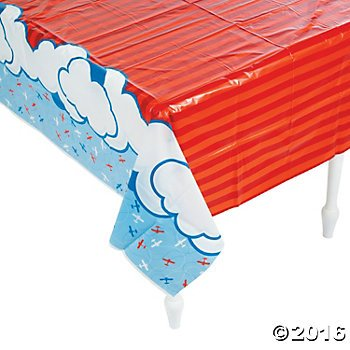 "UPC 889070094290, Plastic Up & Away Airplane Tablecover - 54"" x 108"""