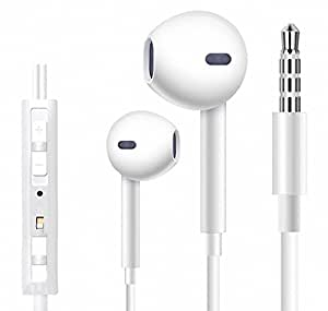 Earphones, Elecer iPhone Earbuds Stereo Earphones with Microphone Headphones with Mic and Remote Control Earbuds for Apple iPhone 6s 6 Plus 5s 5 5c 4s 4 SE Galaxy S8 S7 S6 IOS 7 8 Android Earbuds