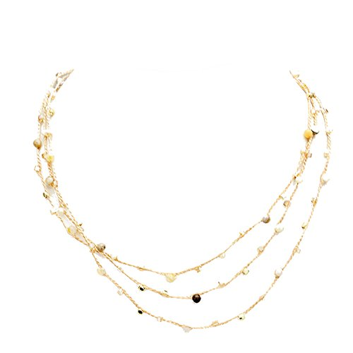 Women's Rose Gold Tone Triple Strand Bead Necklace, 18
