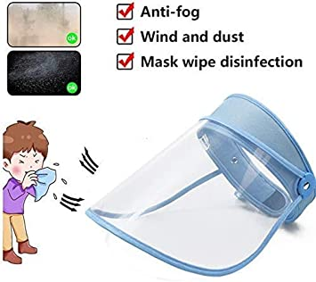 W.KING Película Protectora De La Saliva Facial, Anti-Arena, Anti-Niebla, Sol Sombrero Ajustable Marco Visera (Azul)
