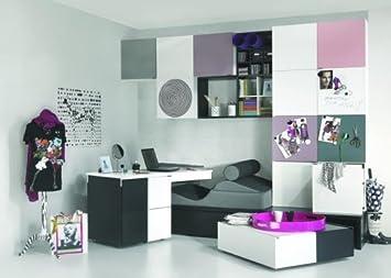 Jugendzimmer Kinderzimmer Komplett Set BLACKu0026WHITE Weiß Schwarz  Kleiderschrank 2 Türig Schreibtisch Transformers Bett 90x200