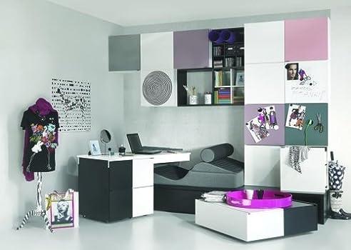 Jugendzimmer Kinderzimmer Komplett Set Black&White Weiß-Schwarz