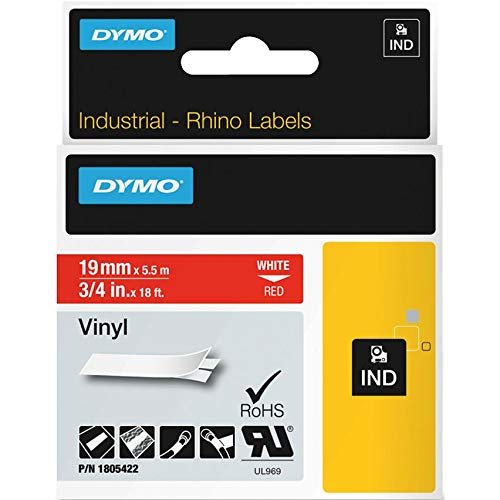 Dymo White on Red Color Coded Label - 0.75quot; Width x 18 ft Length - 1 Each - Vinyl - Thermal Transfer - Red ()