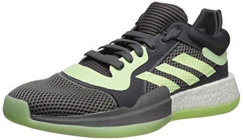 adidas Men's Marquee Boost Low Basketball Shoe Carbon/Glow Green/Grey 9.5 M US