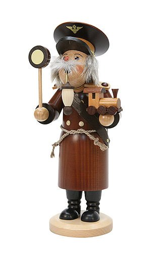 German Incense Smoker Train Conductor natural colors - 29cm / 11 inch - Christian Ulbricht by Authentic German Erzgebirge Handcraft