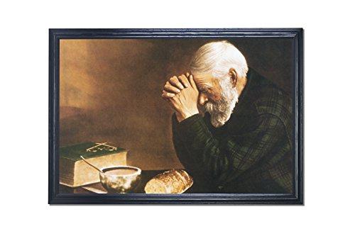 Art Prints Inc Daily Bread Man Praying At Dinner Table Grace Religious Black Framed 24x36 Art Print (Dinner Print)