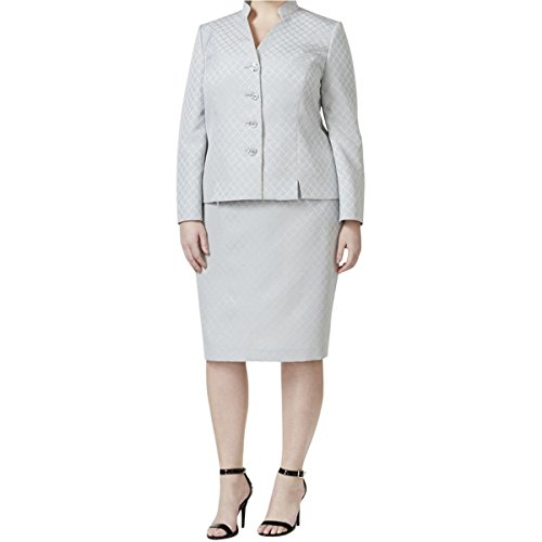 Le-Suit-Womens-Plus-Size-Collarless-Skirt-Set