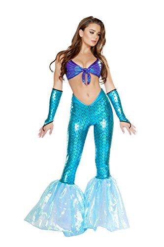 2 Piece Mermaid Sea Siren Dark Blue Top & Light Blue Bell Bottoms Party Costume -