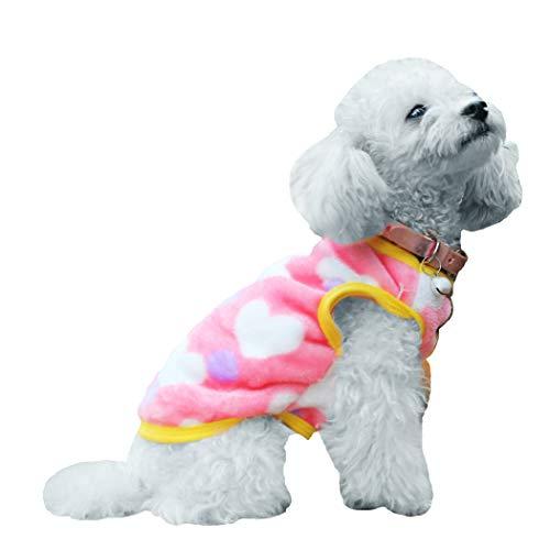 Petea Pet Dog Clothes Heart Dog Vest Winter Villi Coat Warm Pet Puppy Apparel for Dogs and Cats