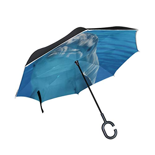 Rh Studio Inverted Umbrella Rain Sun Car Reversible Umbrella Dolphin Underwater Mammal Large Double Layer Outdoor Upside Down Umbrella with Women with Uv Protection C-Shaped Handle