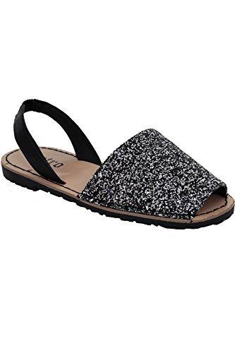 Sapphire TIENDA Mujer menorquino Tira Trasera Peep Toe Purpurina Mulas Zapato plano SANDALIAS PLAYERAS PURPURINA NEGRO