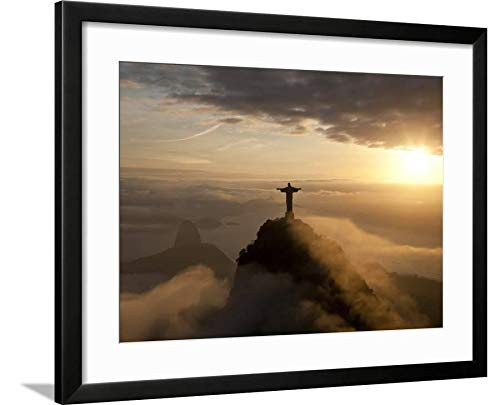 Christ The Redeemer Statue Rio - ArtEdge Statue of Jesus, Known as Cristo Redentor (Christ The Redeemer), on Corcovado Mountain in Rio De Ja by Peter Adams, Black Matted Wall Art Framed Print, 18x24