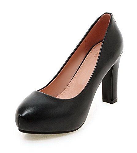 AllhqFashion Damen Rein PU Leder Rund Zehe Ziehen auf Pumps Schuhe Schwarz