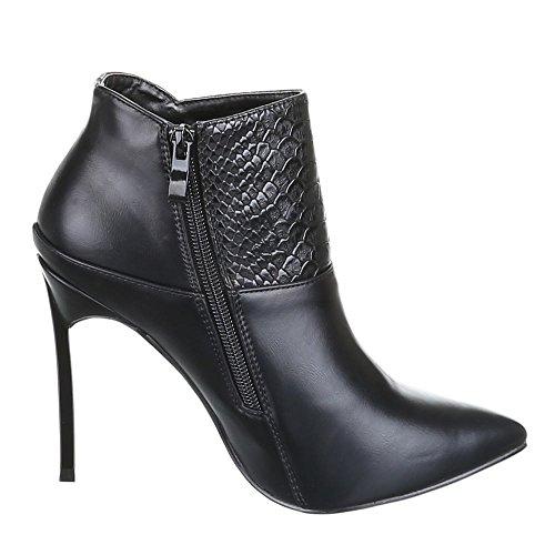 Negro Negro Material Ital mujer Sintético Design de Botas para wq7680