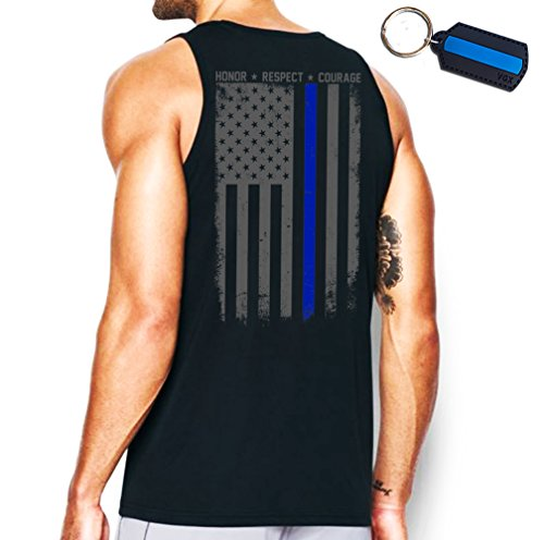 Thin Blue Line Flag Leo Police Support Front & Back Men's Tank Top & Keychain Gift Black ()