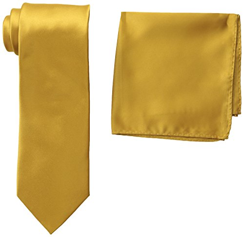 Stacy Adams Men's Tall-Plus-Size Satin Solid Tie Set Extra Long, Gold, One (Adam Satin)