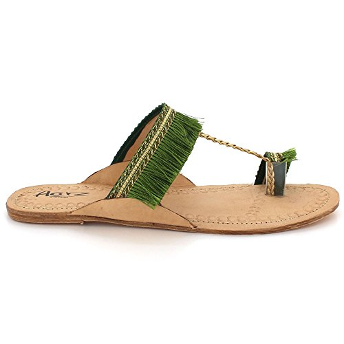 AARZ LONDON Womens Ladies Velvet Authentic Kolhapuri Chappal Open Toe Casual Comfort Slip-On Flat Sandals Shoes Size Green DlhghKi