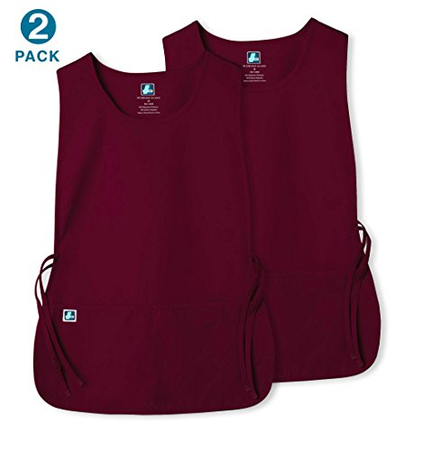 Housekeeping Smock (Unisex Cobbler Apron with 2 Pocket/Adjustable Ties - Available in 30 colors (2 Pack) - 7022 - Burgundy - R)