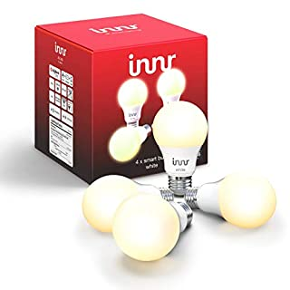 Innr Smart Bulb White A19, Works with Philips Hue, SmartThings, Alexa, Google Home (Hub Required), Dimmable Warm White LED Light Bulb, 60W Equivalent, AE 260 (4-Pack)