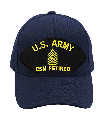 (Patchtown US Army - CSM Retired Hat/Ballcap Adjustable One Size Fits Most (Navy Blue, Add American)