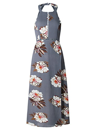 ZESICA Women's Halter Neck Floral Print Backless Split Beach Party Maxi Dress,Grey,Small